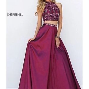Sherri Hill burgundy prom dress